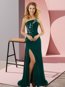Peacock Green Elastic Woven Satin Lace Up Graduation Dresses Sleeveless Sweep Train Beading