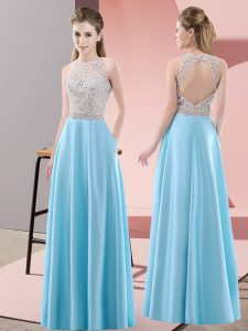 Latest Sleeveless Backless Floor Length Beading Graduation Dresses