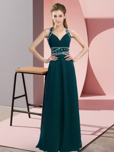 Romantic Sleeveless Floor Length Beading Backless Graduation Dresses with Peacock Green