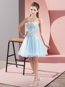Tulle Sweetheart Sleeveless Zipper Beading Graduation Dresses in Light Blue