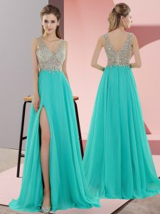 V-neck Sleeveless Chiffon Graduation Dresses Beading Sweep Train Zipper