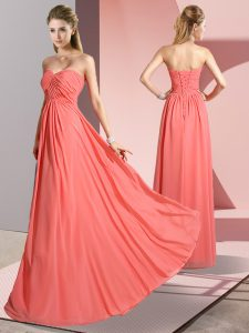 Decent Sleeveless Chiffon Floor Length Lace Up Graduation Dresses in Watermelon Red with Ruching