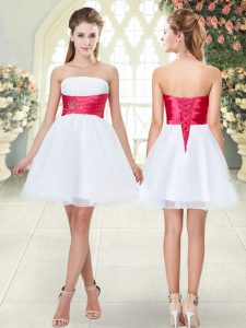 Traditional White A-line Beading Teens Party Dress Lace Up Organza Sleeveless Mini Length