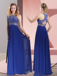 Ideal Blue Criss Cross High-neck Beading and Lace Graduation Dresses Satin Sleeveless Sweep Train