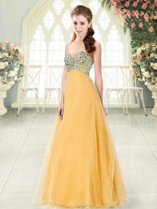 Top Selling Floor Length Lace Up Teens Party Dress Orange for Prom and Party with Beading