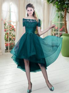 Comfortable Short Sleeves Tulle High Low Lace Up Graduation Dresses in Peacock Green with Lace