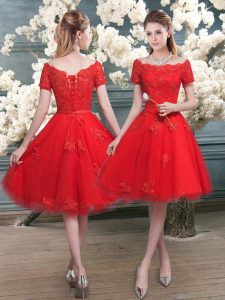 Red Lace Up Off The Shoulder Lace Graduation Dresses Tulle Short Sleeves