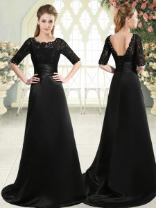 Luxury Lace Up Graduation Dresses Black for Prom and Party with Beading and Appliques Sweep Train