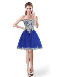 Discount A-line Womens Party Dresses Royal Blue Sweetheart Tulle Sleeveless Mini Length Lace Up