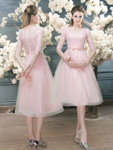 Amazing Tulle Half Sleeves Tea Length Graduation Dresses and Lace