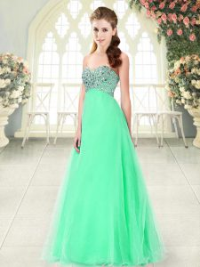 Apple Green A-line Beading Graduation Dresses Lace Up Tulle Sleeveless Floor Length