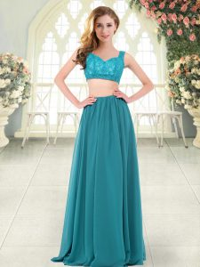 Gorgeous Floor Length Teal Graduation Dresses Chiffon Sleeveless Beading and Lace