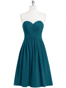 New Style Knee Length A-line Sleeveless Teal Graduation Dresses Zipper