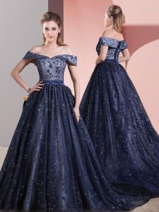 Wonderful Navy Blue Sleeveless Court Train Beading Graduation Dresses