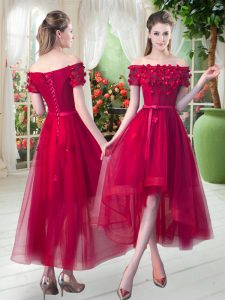 Red A-line Tulle Off The Shoulder Short Sleeves Appliques High Low Lace Up Graduation Dresses