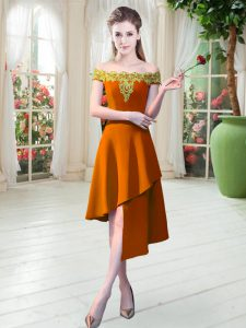 Pretty Sleeveless Asymmetrical Appliques Zipper Graduation Dresses with Orange