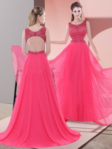 Chiffon Scoop Sleeveless Sweep Train Backless Beading Graduation Dresses in Coral Red