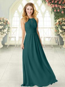 Scoop Sleeveless Graduation Dresses Floor Length Ruching Peacock Green Chiffon