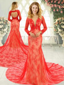 High Class Red Long Sleeves Tulle Court Train Backless Graduation Dresses for Prom and Party and Military Ball