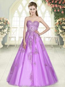 Elegant Sweetheart Sleeveless Lace Up Graduation Dresses Lilac Tulle