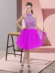 Attractive Purple Two Pieces Beading Graduation Dresses Backless Organza Sleeveless Knee Length