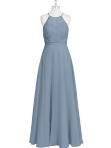 New Style Sleeveless Floor Length Ruching and Pleated Zipper Graduation Dresses with Grey