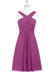 Trendy Chiffon Sleeveless Knee Length Graduation Dresses and Pleated
