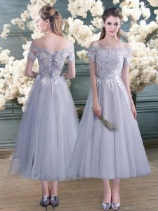 High Quality Ankle Length A-line Short Sleeves Grey Graduation Dresses Lace Up