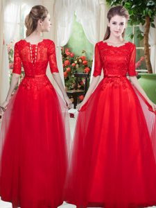 Lace Graduation Dresses Red Lace Up Half Sleeves Floor Length