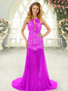 Pink Graduation Dresses Prom and Party with Lace Scoop Sleeveless Brush Train Backless
