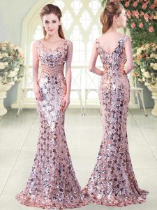 Pink Zipper V-neck Beading Graduation Dresses Sequined Sleeveless