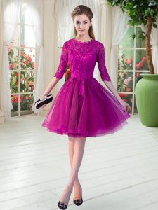 Best Selling Fuchsia Scalloped Zipper Lace Graduation Dresses Half Sleeves