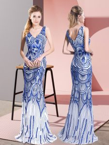 Fancy Mermaid Graduation Dresses Blue V-neck Sleeveless Floor Length Zipper