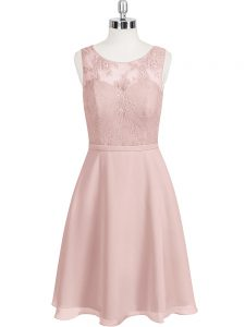 Baby Pink Sleeveless Mini Length Lace Clasp Handle Graduation Dresses