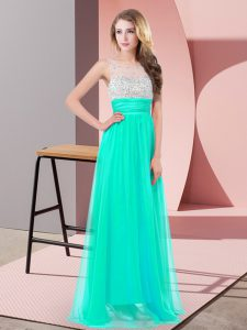 Cheap Turquoise Graduation Dresses Prom and Party with Sequins Scoop Sleeveless Side Zipper