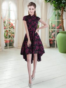 Trendy Pink And Black Lace Zipper High-neck Short Sleeves High Low Graduation Dresses Appliques