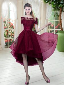 Classical Burgundy Lace Up Off The Shoulder Lace Graduation Dresses Tulle Short Sleeves