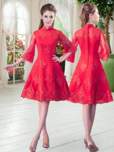 Flare Red High-neck Neckline Lace Graduation Dresses 3 4 Length Sleeve Zipper