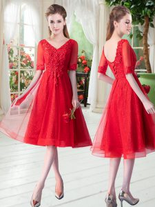 Romantic Red Lace Up Graduation Dresses Beading and Appliques Half Sleeves Knee Length