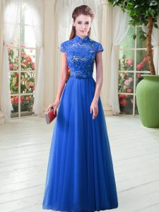 Royal Blue Cap Sleeves Appliques Floor Length Teens Party Dress