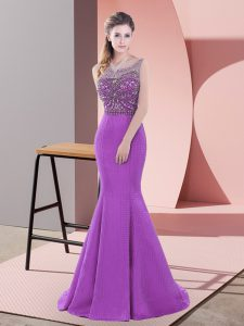 Purple Backless Graduation Dresses Beading and Lace Sleeveless Sweep Train