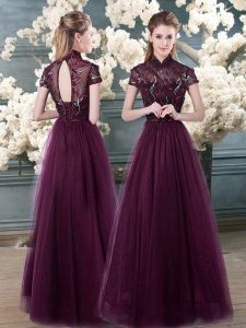 Spectacular Beading and Appliques Graduation Dresses Purple Backless Short Sleeves Floor Length