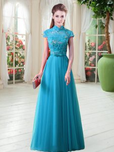On Sale Tulle Cap Sleeves Floor Length Graduation Dresses and Appliques