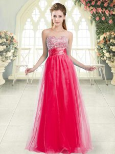 Coral Red Tulle Lace Up Sweetheart Sleeveless Floor Length Graduation Dresses Beading