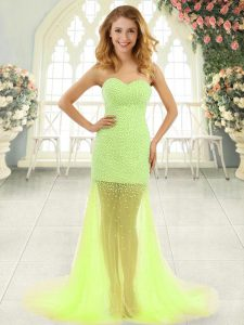 Excellent Tulle Sweetheart Sleeveless Brush Train Zipper Beading Graduation Dresses in Yellow Green