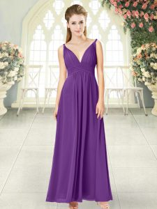 Perfect Sleeveless Ankle Length Ruching Zipper Graduation Dresses with Purple