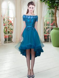 Fitting Off The Shoulder Short Sleeves Graduation Dresses High Low Appliques Teal Tulle