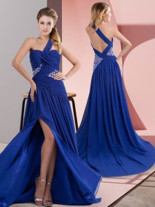 Modern Royal Blue One Shoulder Neckline Beading and Ruching Graduation Dresses Sleeveless Backless