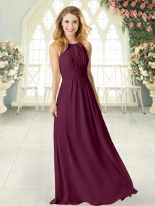 Clearance Sleeveless Chiffon Floor Length Zipper Graduation Dresses in Burgundy with Ruching