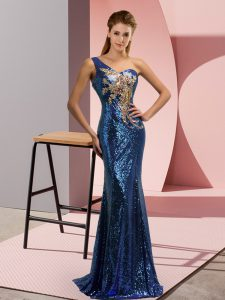 Enchanting Sequined One Shoulder Sleeveless Sweep Train Lace Up Beading and Appliques Graduation Dresses in Blue